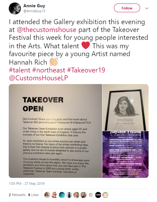 Annie Guy Review on Twitter for The Takeover Exhibition 2019