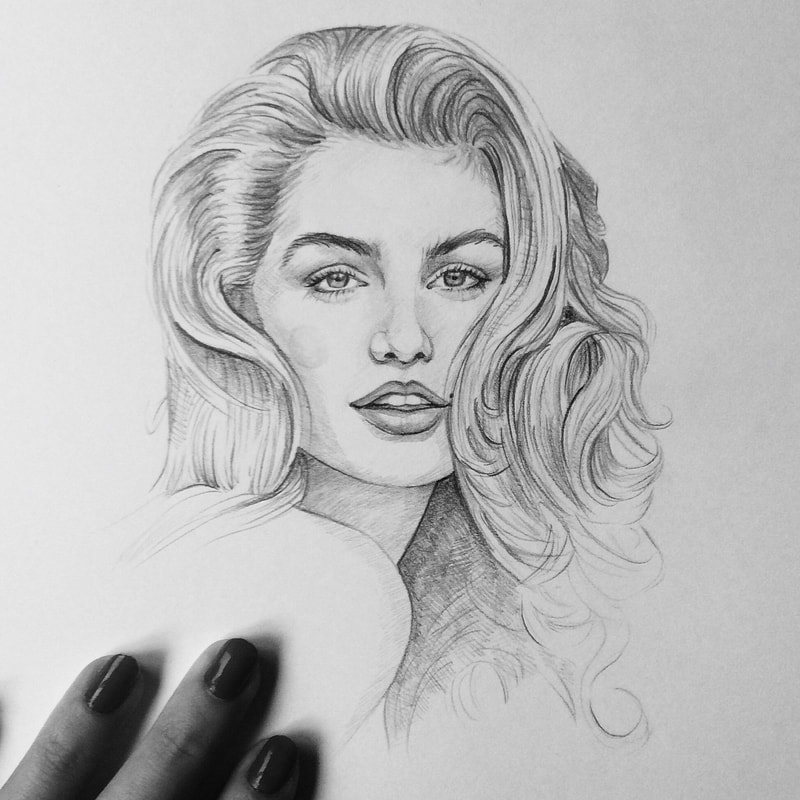 Hand-drawing of Cindy Crawford.
