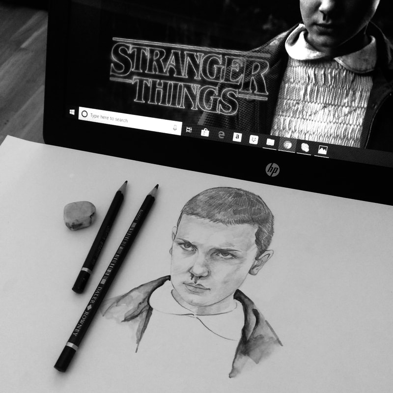 Hand-drawing of Millie Bobby Brown in Stranger Things.