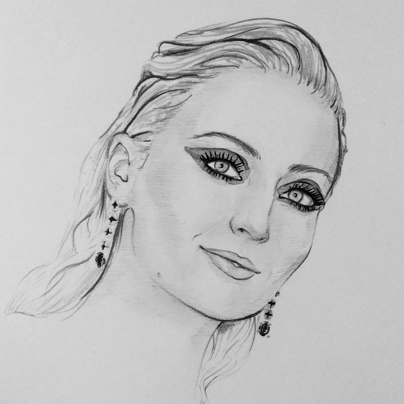 Hand-drawing of Sophie Turner.