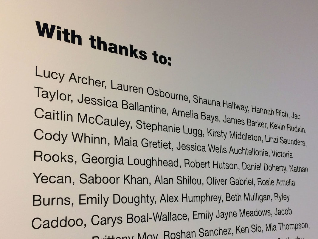 A mural of names for everyone involved with The Takeover Exhibition at South Shields.